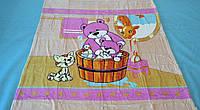 Микрофибровая простынь, покрывало Elway детское (127х152см) Мишка в баньке(розовый)