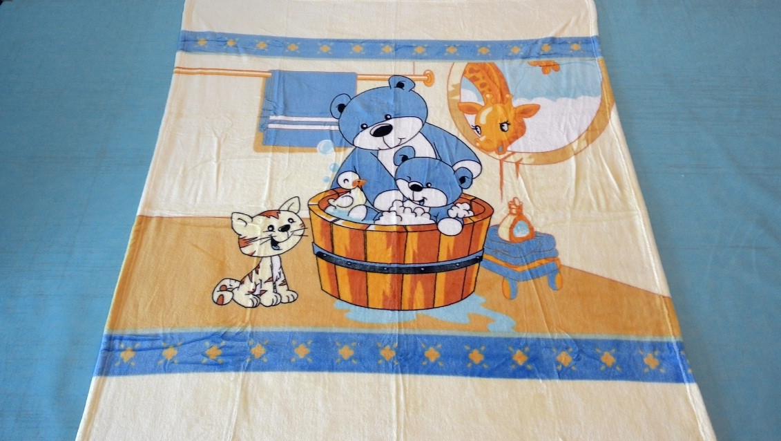 Микрофибровая простынь, покрывало Elway детское (127х152см) Мишка в баньке(голубой)