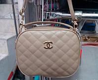Женский стёганый клатч Chanel (Шанель), бежевый