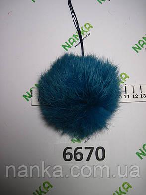 Меховой помпон Кролик, Изумруд, 10 см,  6670, фото 2