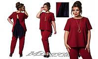 Женский нарядный костюм брюки и блуза с удлиненной спинкой креп-костюмка украшено гипюр размеры:50,5