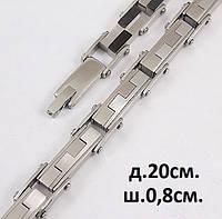Мужской стальной браслет на руку - F-образные звенья