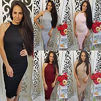 Женское вязаное миди платье