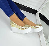 Хит продаж! Женские кожаные туфли цвет золото на высокой платформе, 36-40р.