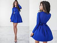 Платье женское с поясом, материал - мемори коттон+фатин, цвет - синий