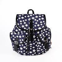 Женский городской рюкзак М6771 синий с белыми листьями