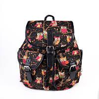 Коричневый рюкзак М6770 женский мягкий городской с совами