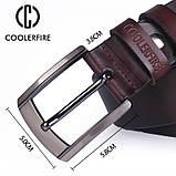 Ремінь чоловічий шкіряний COOLERFIRE модель 1 (чорний), фото 5