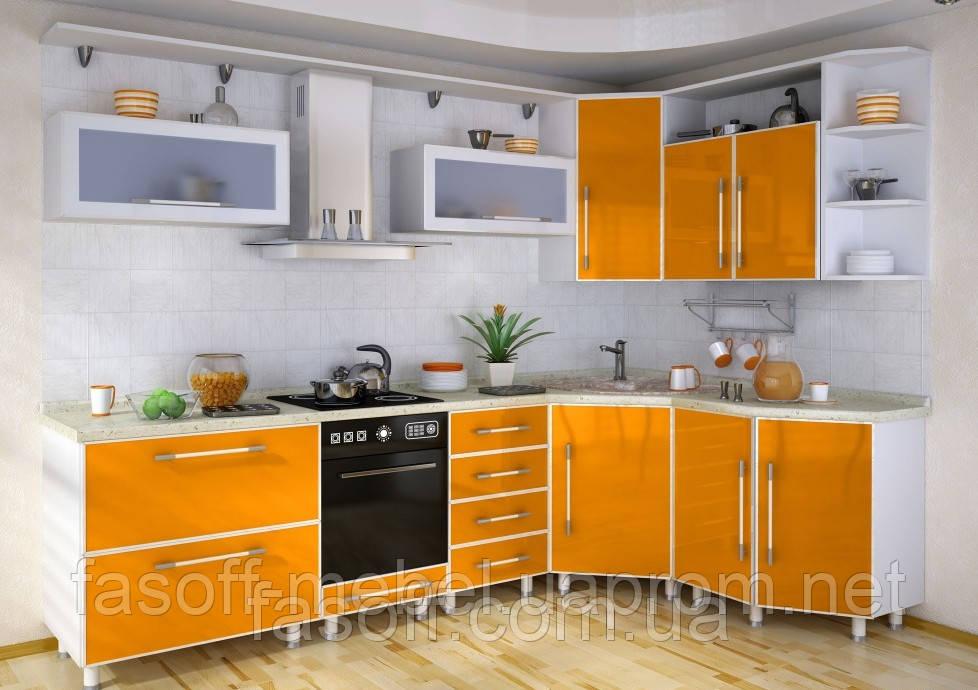 Кухня МДФ пластик + стекло 037