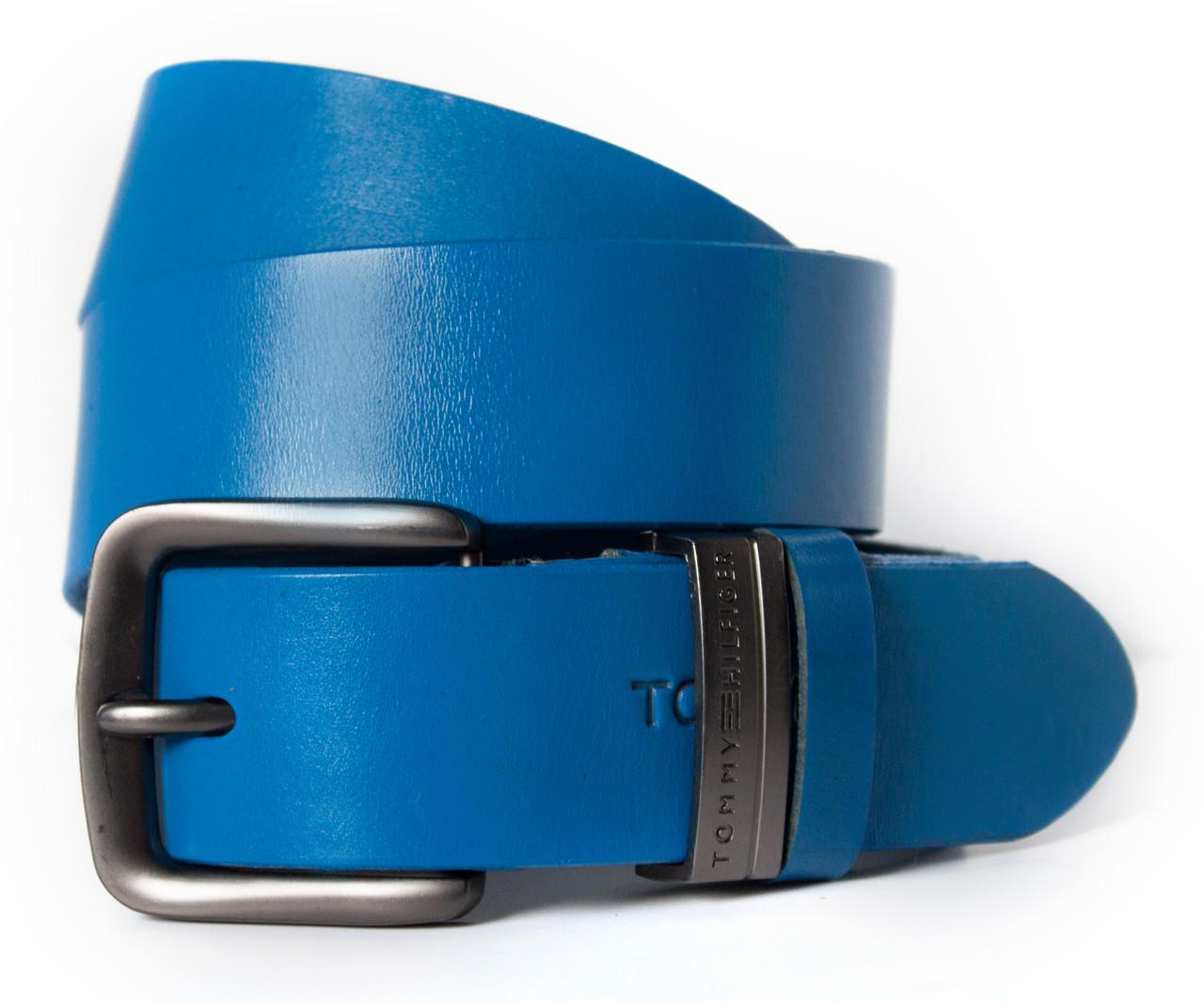 Кожаный мужской ремень в стильном синем цвета в стиле Tommy Hilfiger (11190)