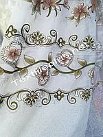 Тюль белая с цветами