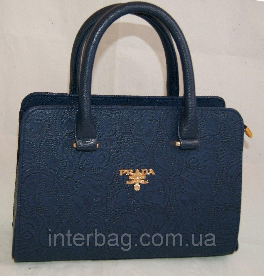 77c87061d0a6 Синяя стильная женская сумочка Prada (Прада) каркасного типа с цветочной  перфорацией - MDNgroup