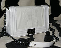 Клатч женский Шанель Бой, рептилия, большой, белый