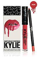 Набор Kylie матовая жидкая помада + карандаш для губ (белая с черным упаковка)