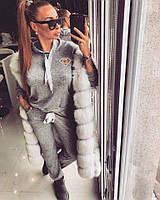 Женский трикотажный костюм с капюшоном и перламутровыми лентами