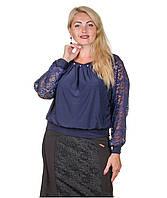 Блуза с гипюром размер плюс Беатрис темно-синий (50-64)