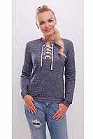 Теплая женская кофта свитшот со шнуровкой светло-синяя