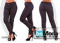 Стильные женские брюки облегающего кроя больших размеров коричневые