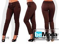 Модные женские брюки облегающего кроя больших размеров бордовые
