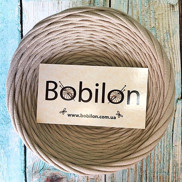 Пряжа трикотажная Бобилон 5-7 мм, цвет карамель