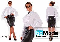 Милая женская блуза больших размеров  с воланом на воротнике и на рукавах белая