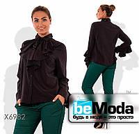 Милая женская блуза больших размеров  с воланом на воротнике и на рукавах черная