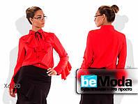 Милая женская блуза больших размеров  с воланом на воротнике и на рукавах красная