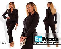 Классический женский брючный костюм большого размера  оригинального фасона черный