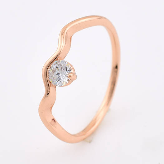 Кольцо 13875 размер 19, белый фианит, позолота РО