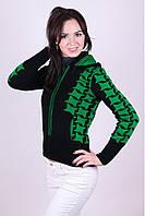 Теплая вязанная кофта Вертушки черный-зеленый