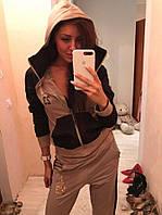 """Женский спортивный костюм """"Nike Jordan"""" с объемным капюшоном и вставками из плащевки ,в  расцветках"""