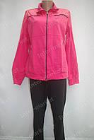 Спортивный женский костюм трикотаж батал розовый