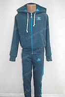 """Красивый детский трикотажный спортивный костюм в стиле """"Adidas"""" для мальчика индиго меланж"""