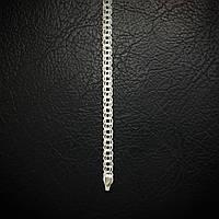 Серебряный браслет, 210мм, 6,6 грамма, плетение  Бисмарк, светлое серебро