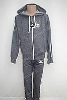 """Красивый детский трикотажный спортивный костюм в стиле """"Adidas"""" для мальчика серый меланж"""