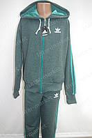 """Красивый детский трикотажный спортивный костюм в стиле """"Adidas"""" для мальчика зеленый меланж"""