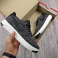 Кроссовки мужские Nike Air Force, цвет - серый, материал - вязаный текстиль, подошва прошита