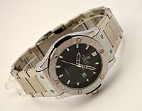 Стальные часы HUBLOT - GENEVE, стальной браслет - черный циферблат