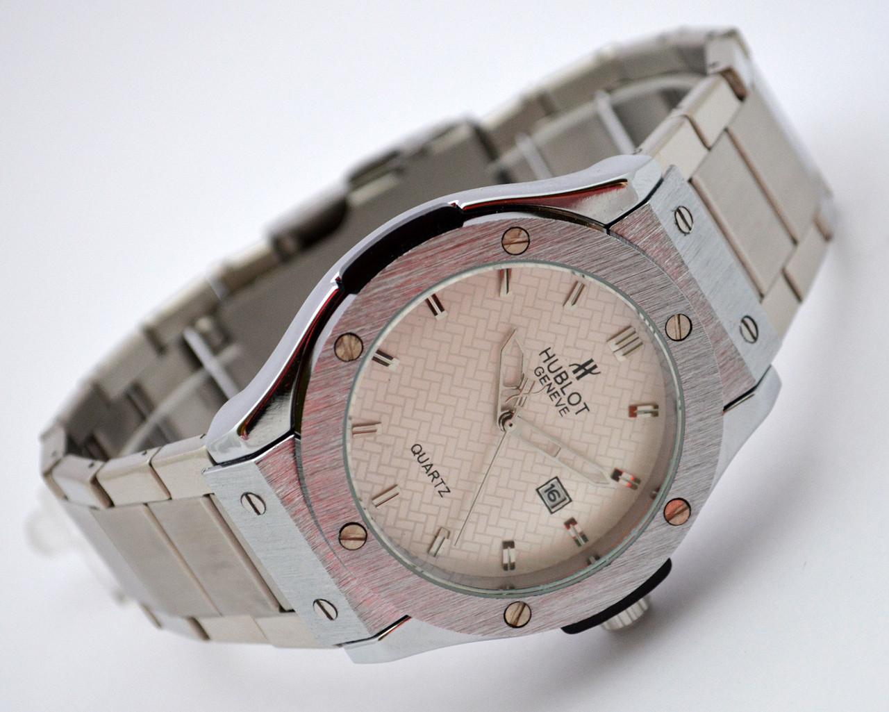 Стальные часы HUBLOT - GENEVE, стальной браслет - серебристый циферблат, фото 1