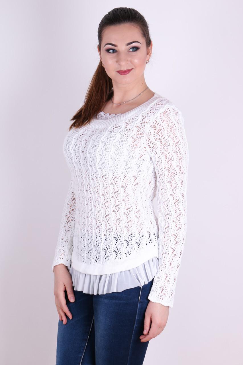 Красивый легкий ажурный джемпер Няша  белый - FaShop  Женская одежда от производителя в Харькове