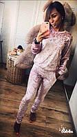 Хит! Облегающий женский велюровый бархатный костюм брюки штаны свитер кофта розовый 42-44 44-46