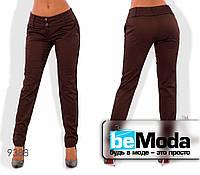 Модные женские брюки с широким поясом и двумя пуговицами коричневые