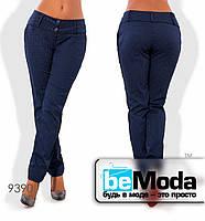 Эффектные женские брюки из стрейч коттона с принтом синие