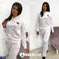 Женский спортивный костюм большого размера из  бархат-муара белый