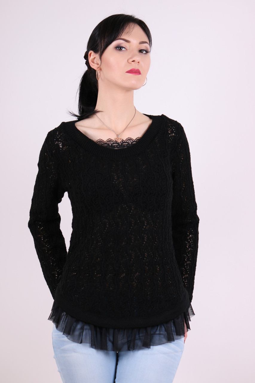 Красивый легкий ажурный джемпер Няша черный - FaShop  Женская одежда от производителя в Харькове