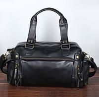 Кожаная мужская сумка черная (Экокожа)
