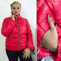 Женская куртка на молнии синтепон Батал ТЕМНО СИНЯЯ СКЛАД