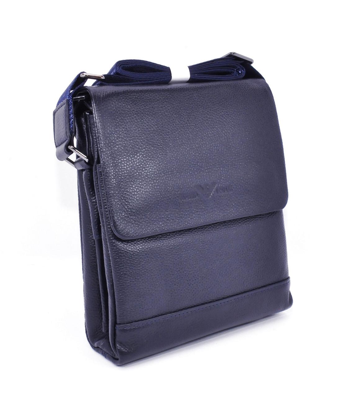 Сумка мужская малая кожаная планшет синяя Giorgio Armani 7911-1