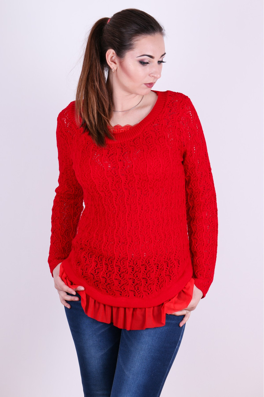 Красивый легкий ажурный джемпер Няша алый - FaShop  Женская одежда от производителя в Харькове