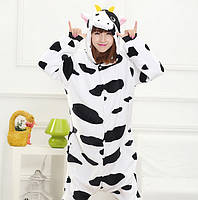 Кигуруми коровка буренка пижама теплая махровая комбинезон